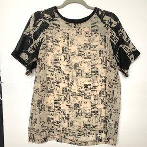 TopShot Black and Beige Short Sleeve Top Sz US 8